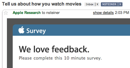 Apple Feedback Surveys