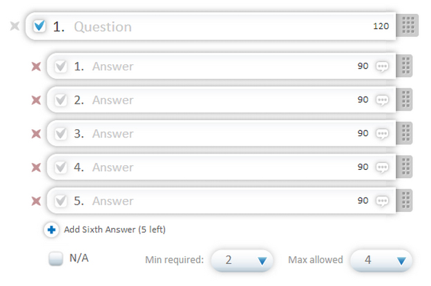 New: set answer ranges in checkbox questions