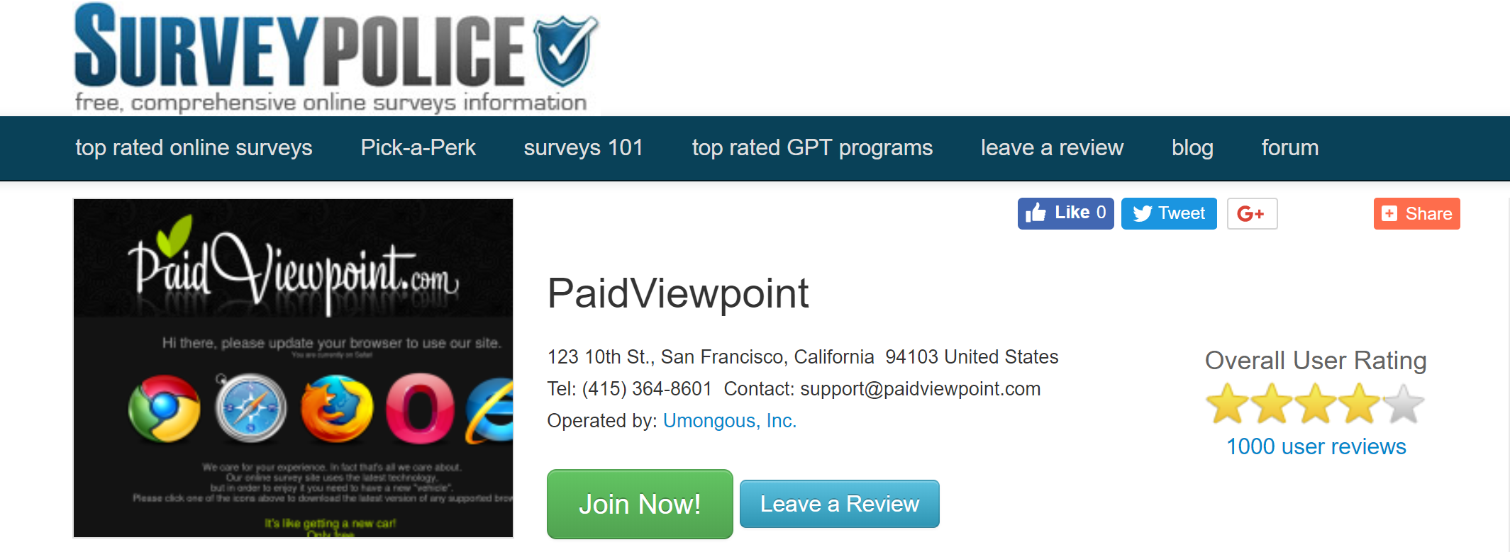 Highest Rated Survey Website PaidViewpoint.com Hits 1,000 Reviews on SurveyPolice